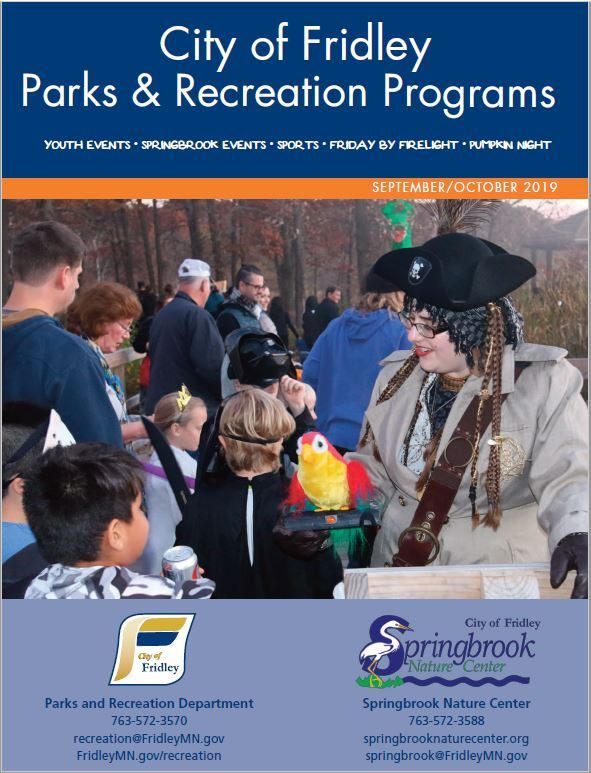Screenshot of cover of brochure featuring photo of pirate from Pumpkin Night in the Park