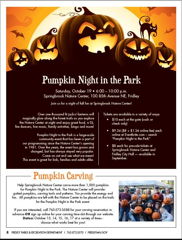 Screenshot of back cover of brochure with an ad for Pumpkin Night